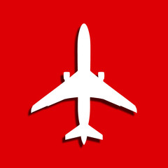 Airplane on red background