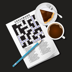 illustration of crossword game, mug of coffee and pie