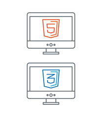 line illustration of web development icons, html and css -