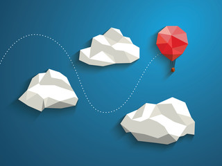 Low poly red balloon flying between polygonal clouds in the sky