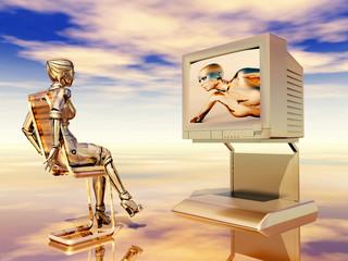 Female robot watching TV