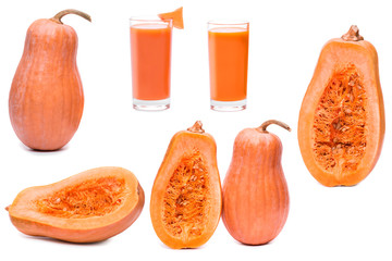 set pumpkin fresh glass of juice, half sliced squash isolated