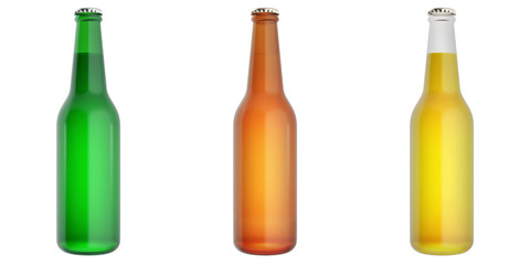 Set of glass beer bottles. 3d illustration
