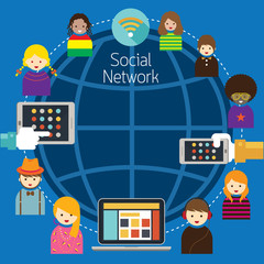 Mobile, Laptop, Tablet with People Social Network