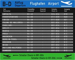 Nachbildung Abflugtafel Flughafen