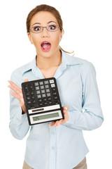 Bank employee with calculator.