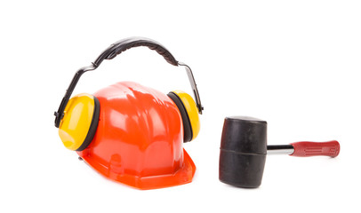 Hard hat with ear muffs.