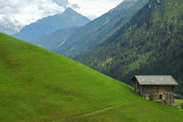 Mountain and a old hut in the Austian Alps.