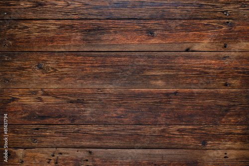 Fototapeta Old red wood background, rustic wooden surface with copy space