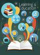 Open Book with Education Icons