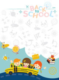 Fototapety School Bus with Student and Education Icons Frame