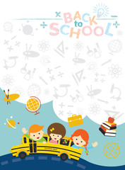 School Bus with Student and Education Icons Frame