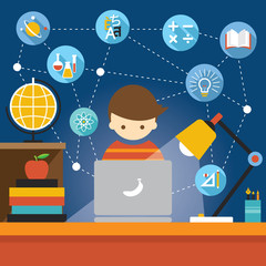 Student with Laptop Computer Education Concept and Icons