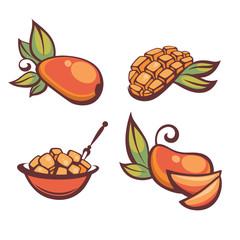 fresh mellow mango, vector illustration