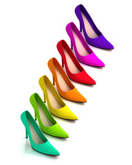 Colorful fashionable high heel shoes