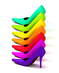 colorful assortment of  high heel shoes
