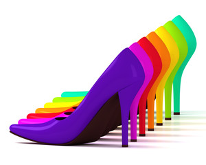Multicolored fashionable high heel shoes