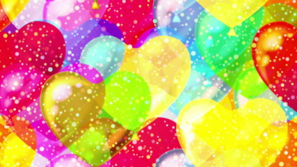 Flying balloons hearts, seamless loop
