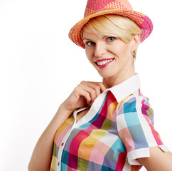Summer blonde in hat isolated on white background