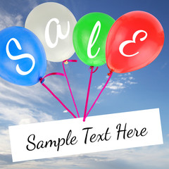 Balloons with Sale text and copy-space on blue sky