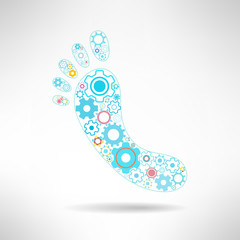 Feet massage sign and logo with gears. Health mechanics concept