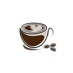 Kaffee mt Herz und Bohnen