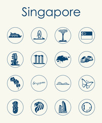 Set of Singapore simple icons