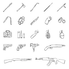 Vector Set of Sketch Weapon Icons