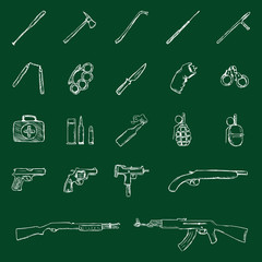 Vector Set of Chalk Weapon Icons