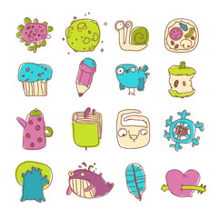Vector Icons Set of Cartoon Objects and Characters