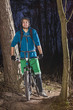 proud mountainbiker in the forest