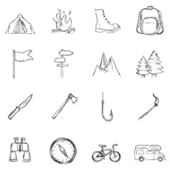 Vector Set of Sketch Hiking and Camping icons