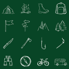 Vector Set of Chalk Hiking and Camping icons