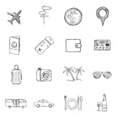 Vector Set of  Sketch Travel and Vacation Icons