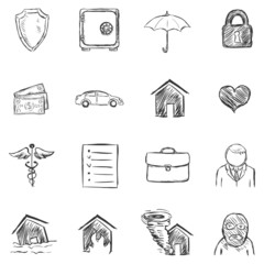Vector Set of Sketch Insurance Icons