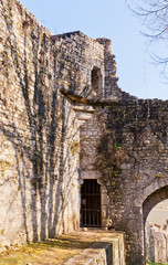 Ruins of ramparts in Provins France. UNESCO site