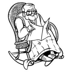 Funny cartoon granddad. vector illustration