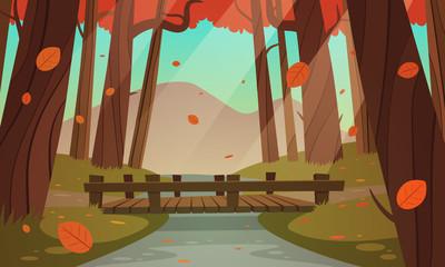 Small wooden bridge in the woods, autumn landscape.