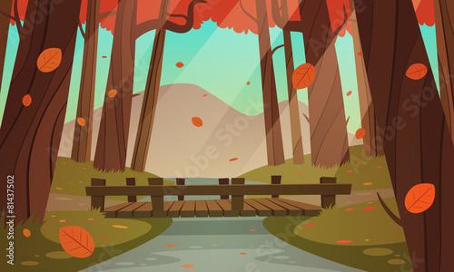 Zdjęcia na płótnie, fototapety, obrazy : Small wooden bridge in the woods, autumn landscape.