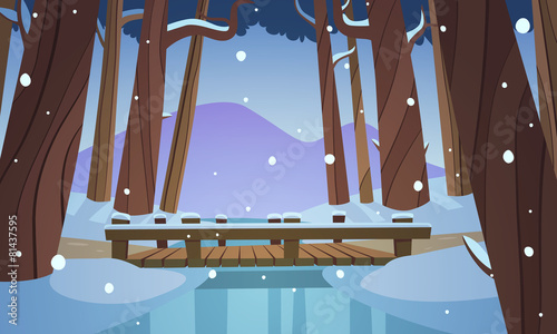 Small wooden bridge in the woods, winter landscape. - 81437595