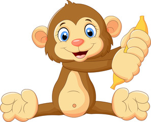 Cartoon monkey holding banana fruit
