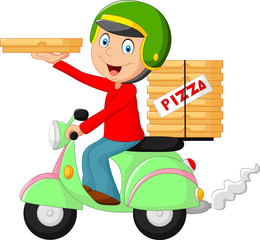 Cartoon pizza delivery boy riding motor bike