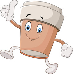 Cartoon coffee cup giving thumbs up