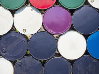 oil containers placed outdoor