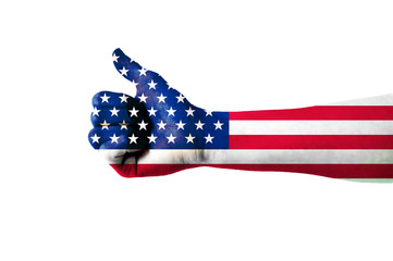 Main avec pouce levé, drapeau USA