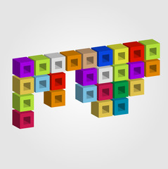 Colorful composition with cubes