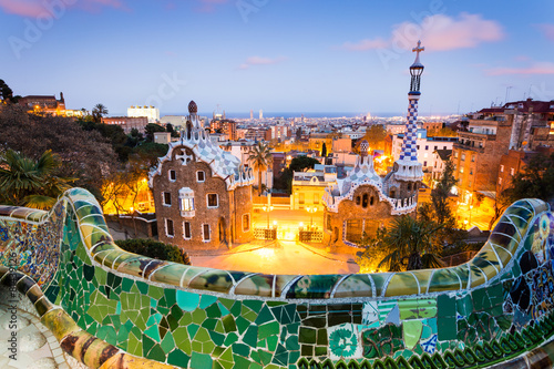Poster Barcelona, Park Guell after sunset