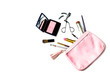 make up bag with cosmetics isolated - 81439309