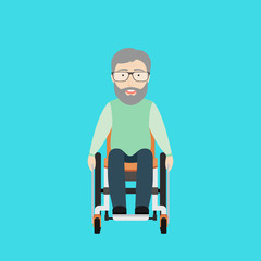 Vector Flat Illustration of an Old Man on a Wheelchair