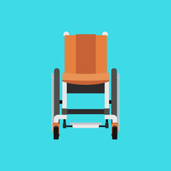 Vector Flat Illustration of a Wheelchair on Blue Background.